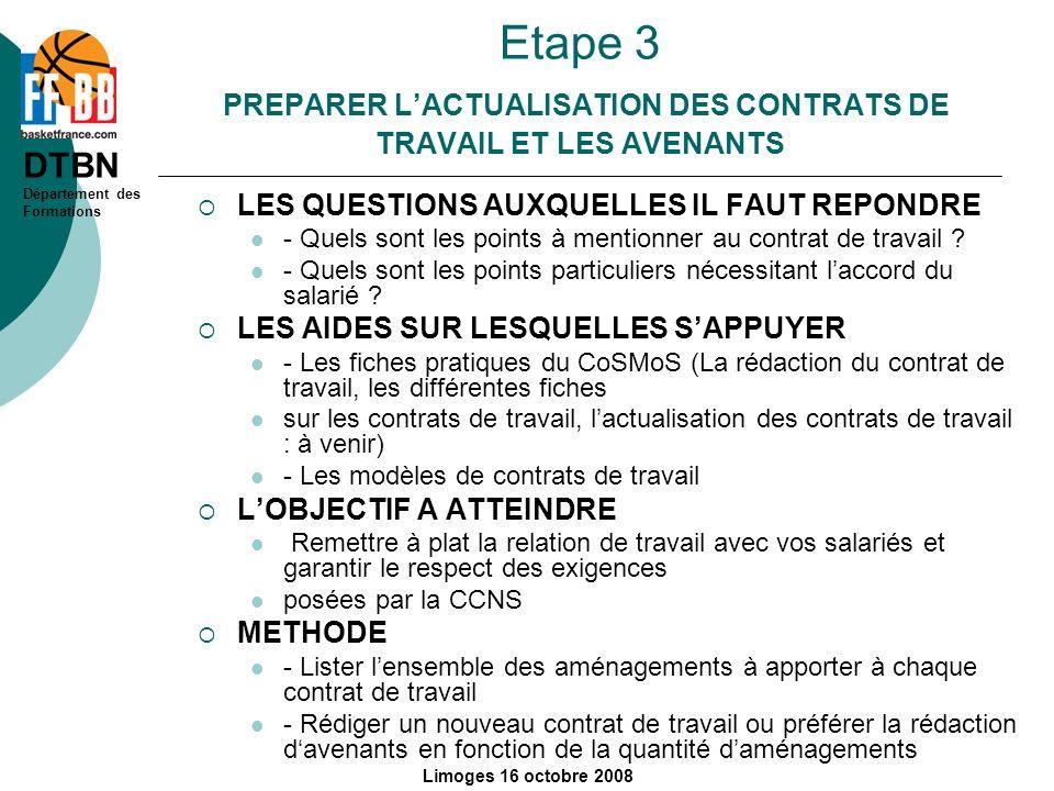 Etape 3 PREPARER L'ACTUALISATION DES CONTRATS DE TRAVAIL ET LES AVENANTS
