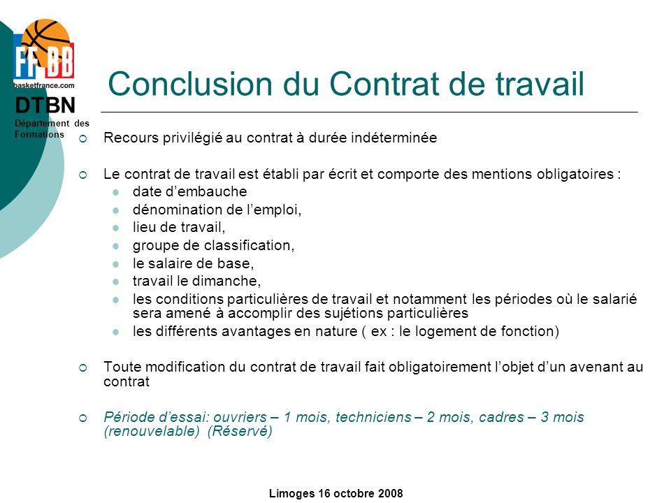 Conclusion du Contrat de travail