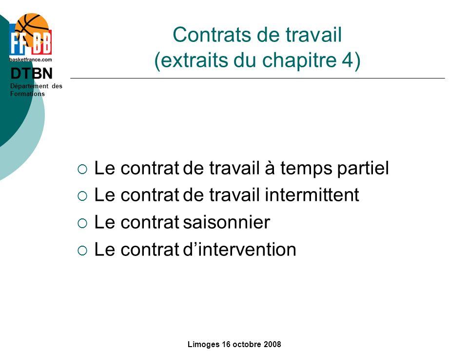 Contrats de travail (extraits du chapitre 4)