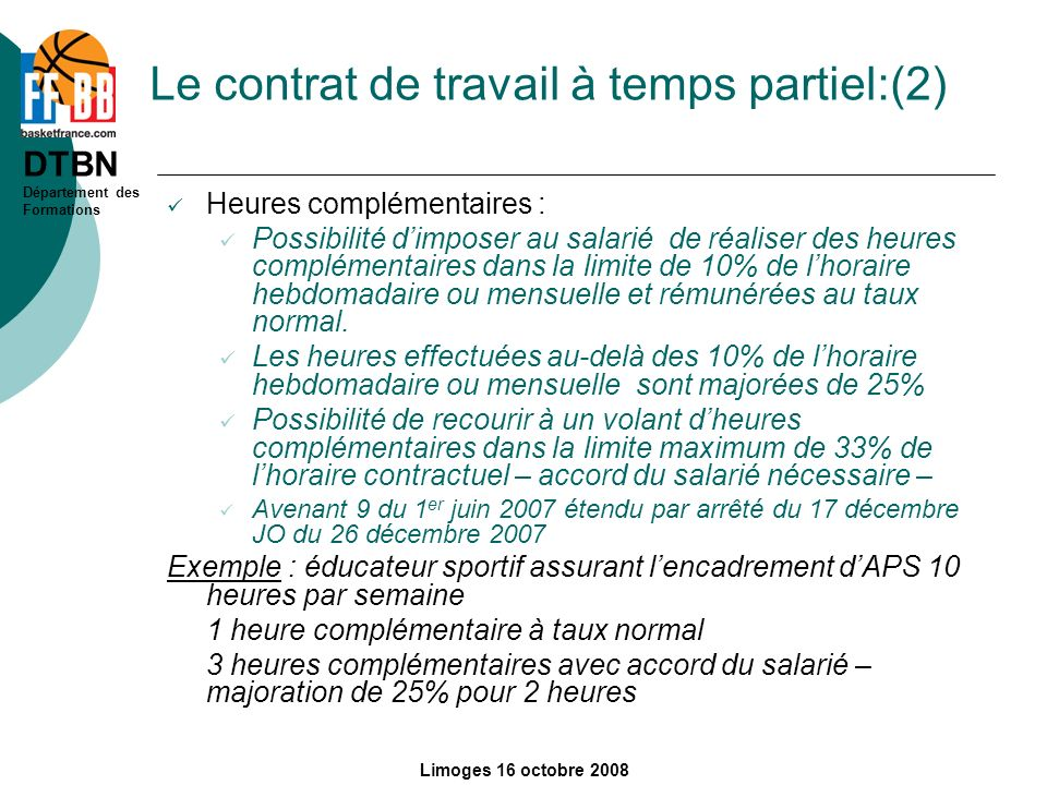 Le contrat de travail à temps partiel:(2)
