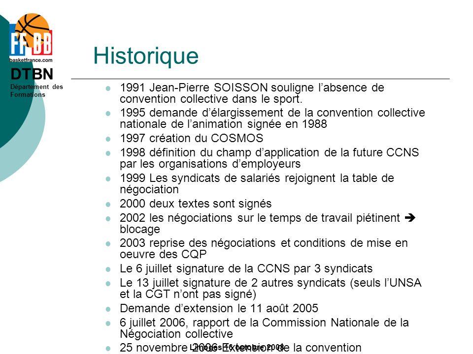 Historique 1991 Jean-Pierre SOISSON souligne l'absence de convention collective dans le sport.