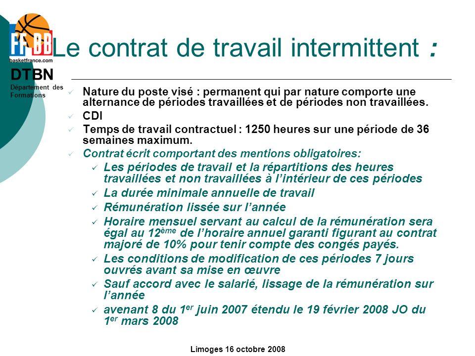 Le contrat de travail intermittent :