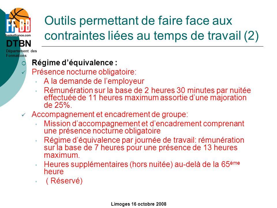 Outils permettant de faire face aux contraintes liées au temps de travail (2)