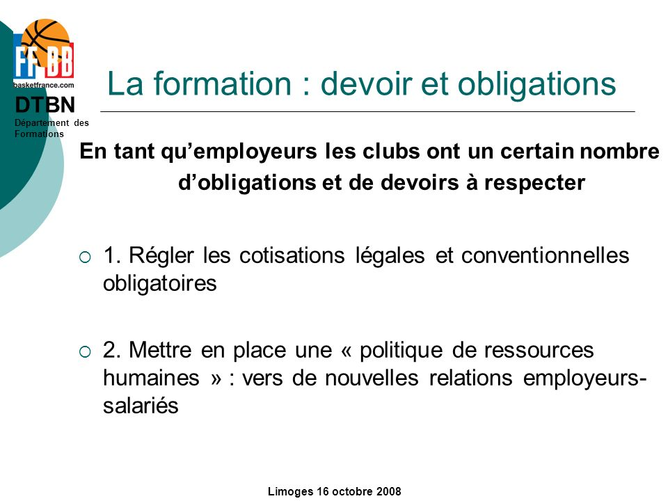 La formation : devoir et obligations