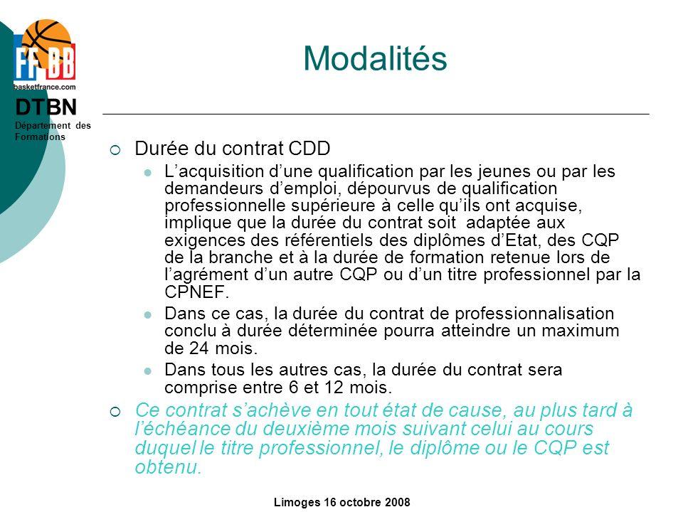 Modalités Durée du contrat CDD