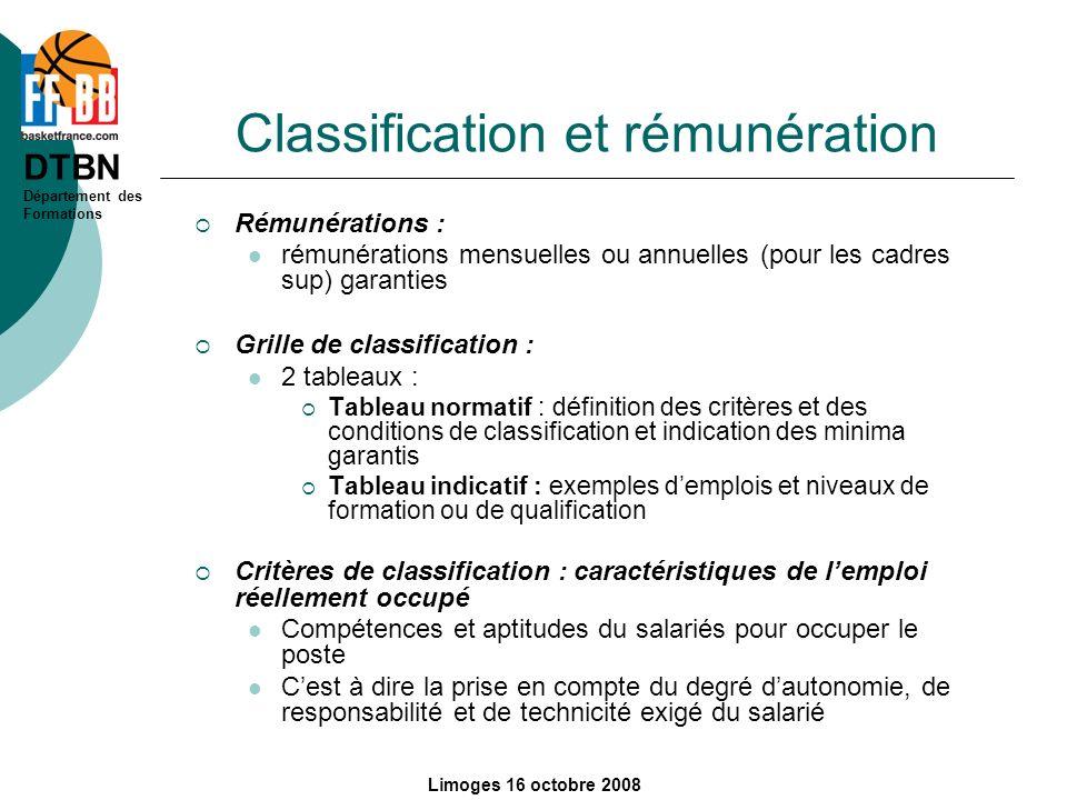 Classification et rémunération