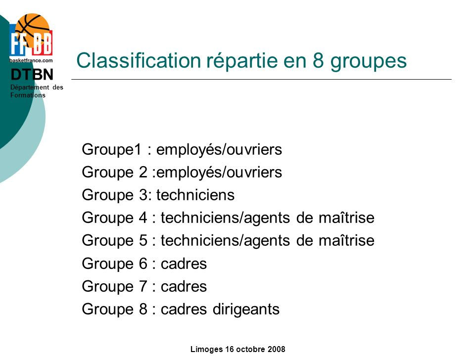 Classification répartie en 8 groupes