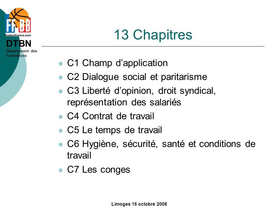 13 Chapitres C1 Champ d'application C2 Dialogue social et paritarisme