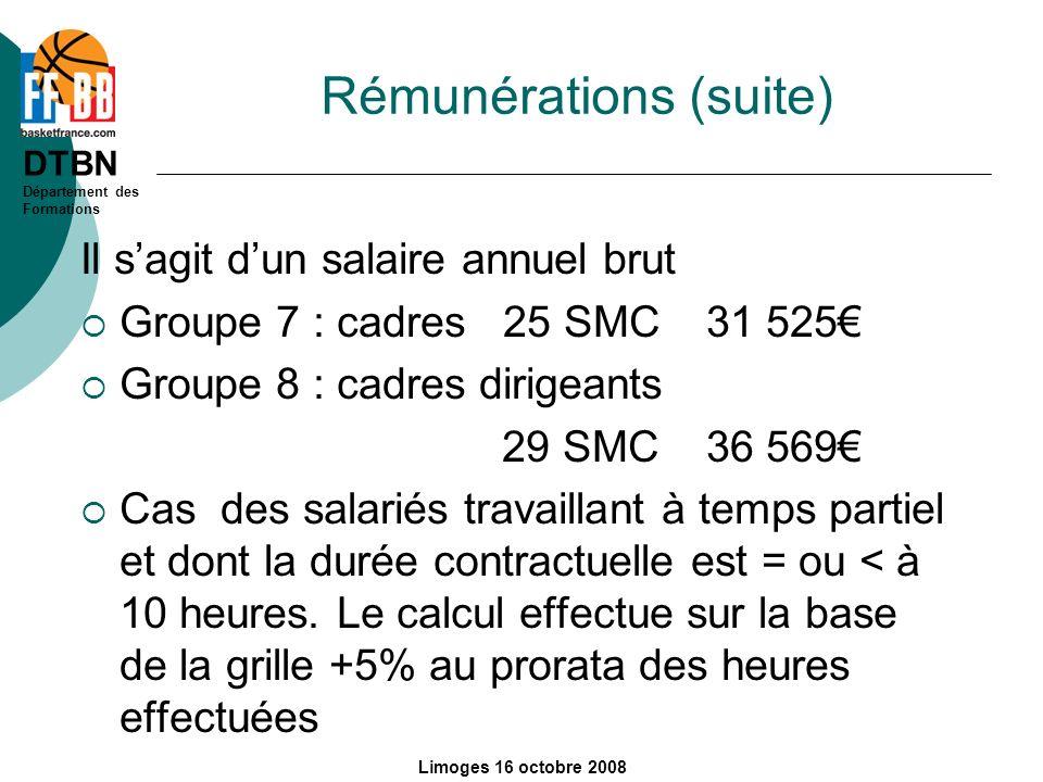 Rémunérations (suite)