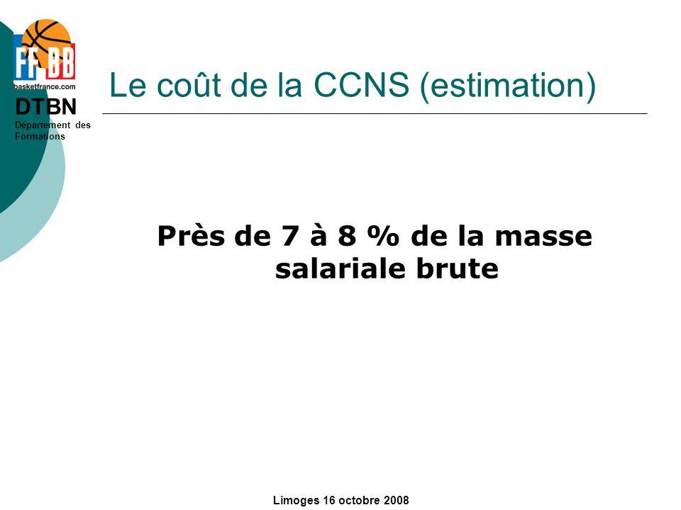 Le coût de la CCNS (estimation)