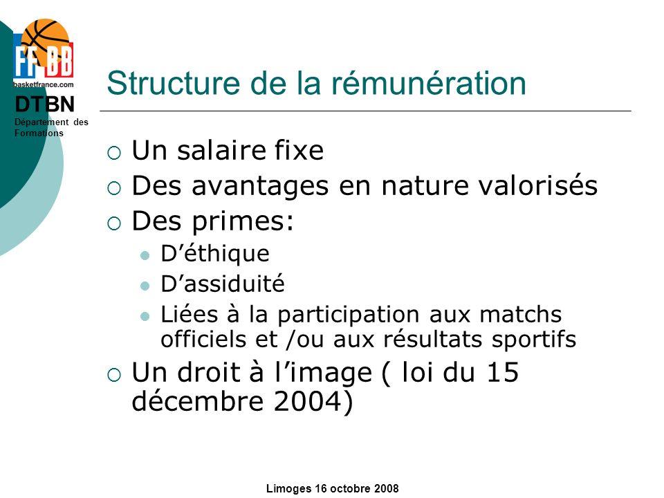 Structure de la rémunération