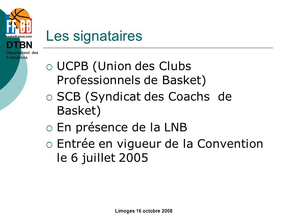 Les signataires UCPB (Union des Clubs Professionnels de Basket)