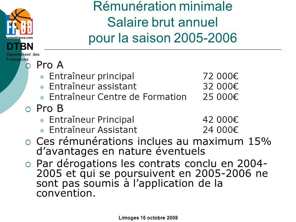 Rémunération minimale Salaire brut annuel pour la saison 2005-2006