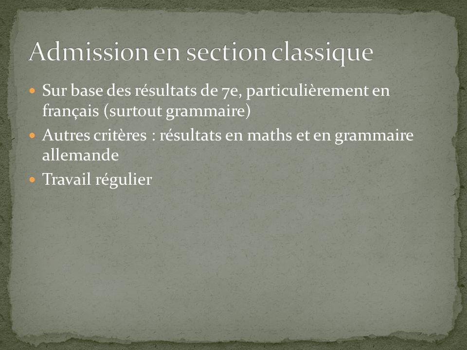 Admission en section classique