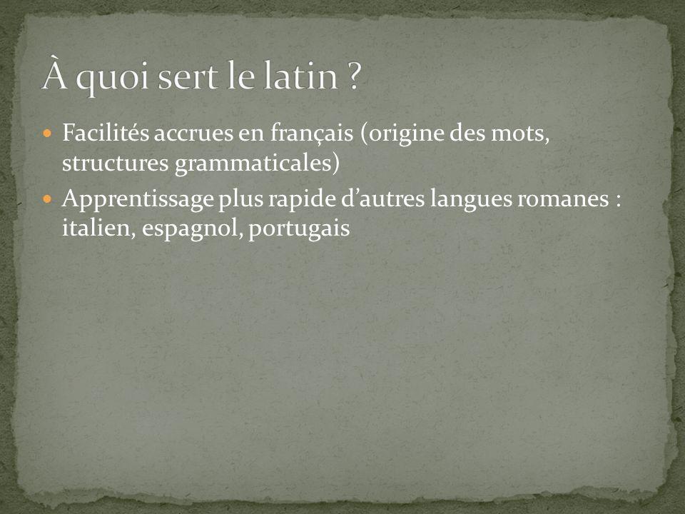 À quoi sert le latin Facilités accrues en français (origine des mots, structures grammaticales)