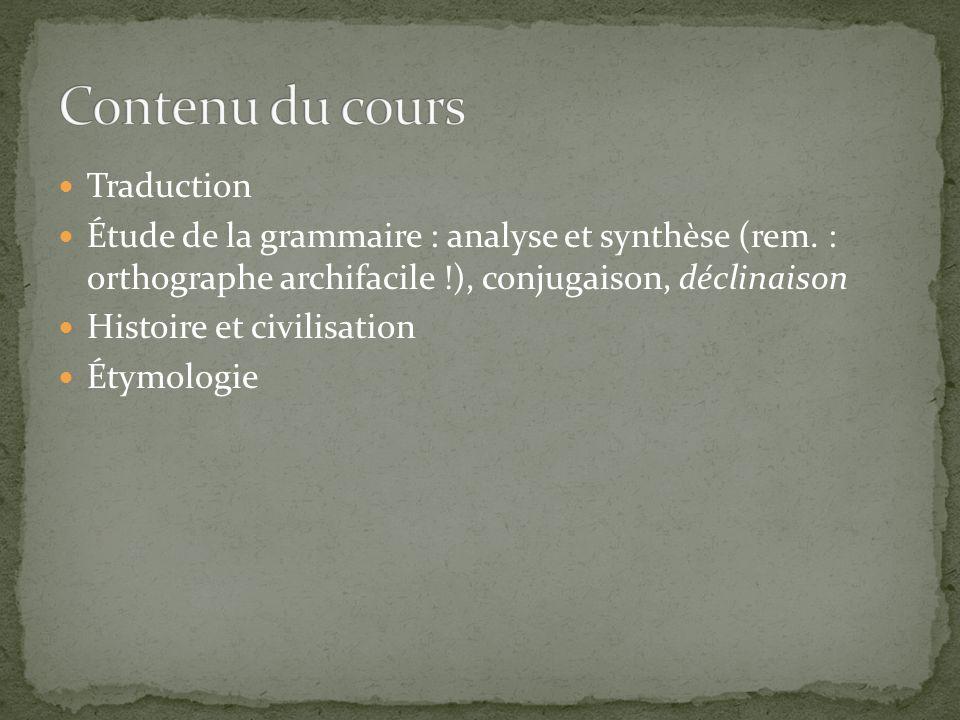 Contenu du cours Traduction