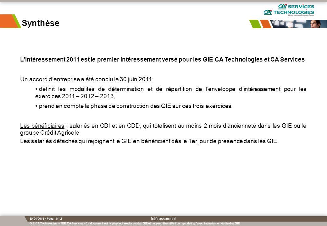 Synthèse L'intéressement 2011 est le premier intéressement versé pour les GIE CA Technologies et CA Services.