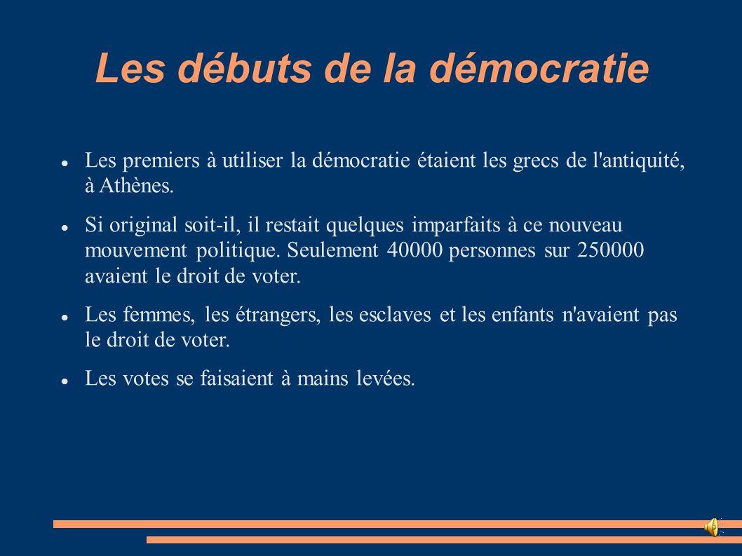 Les débuts de la démocratie