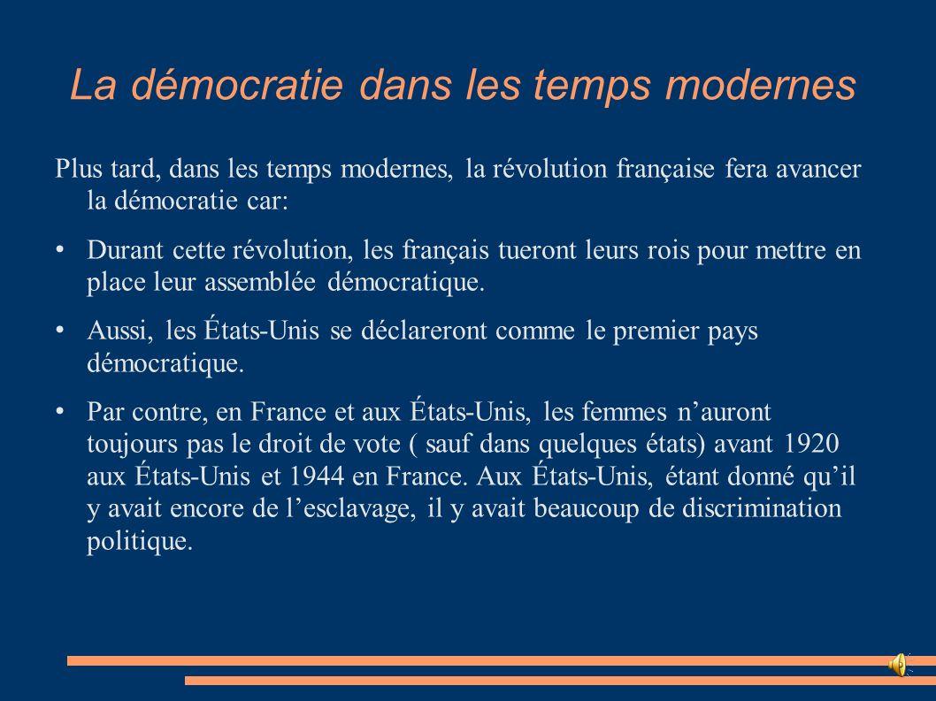 La démocratie dans les temps modernes