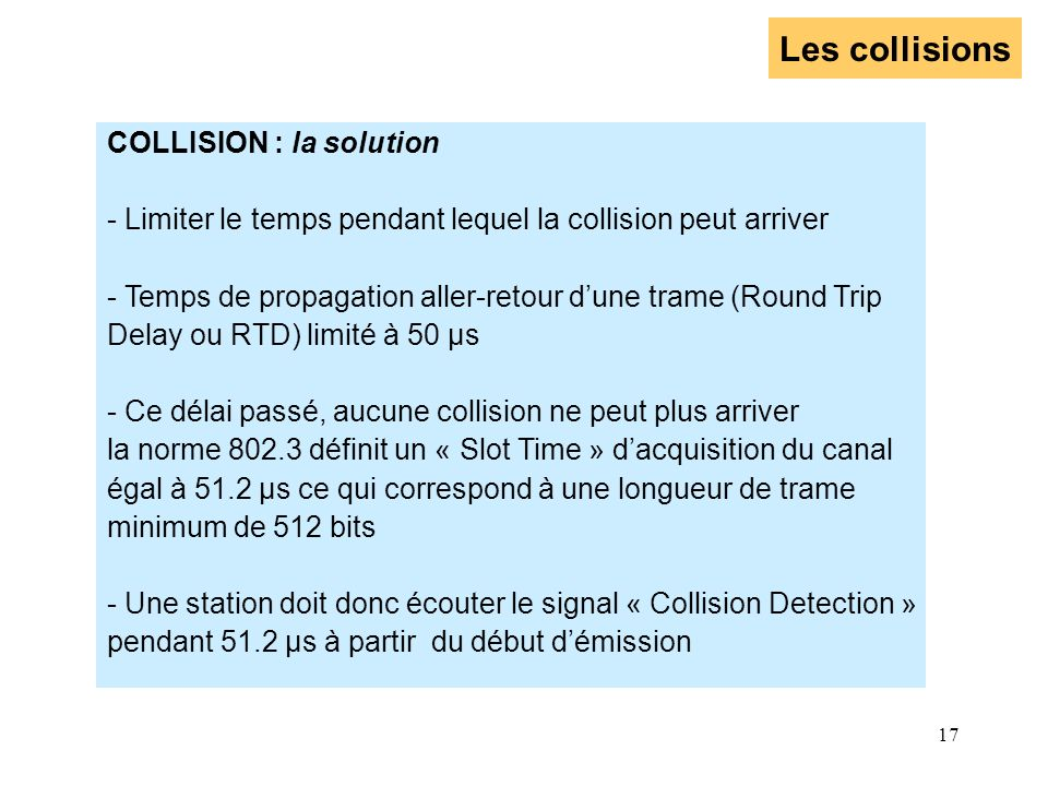 Les collisions COLLISION : la solution