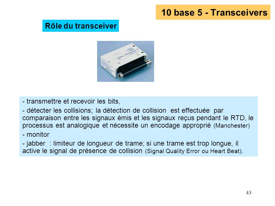 10 base 5 - Transceivers Rôle du transceiver