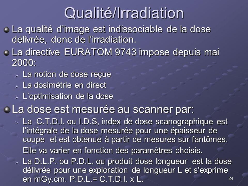 Qualité/Irradiation La dose est mesurée au scanner par:
