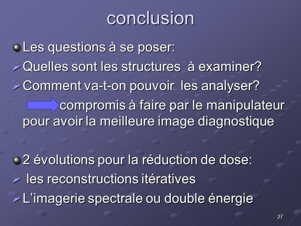 conclusion Les questions à se poser: