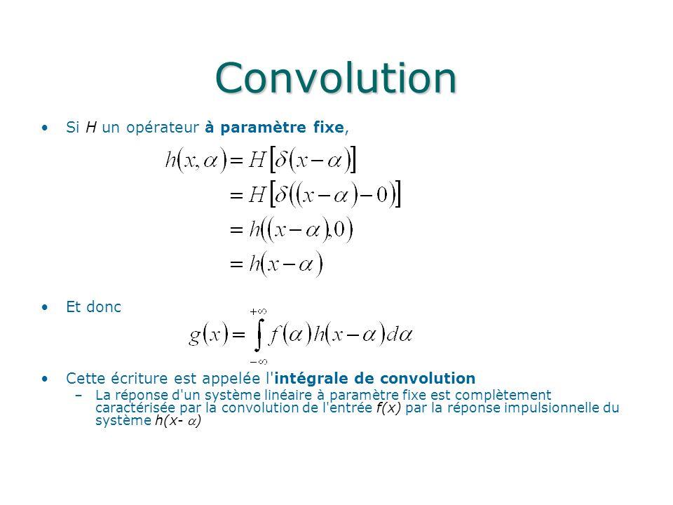 Convolution Si H un opérateur à paramètre fixe, Et donc