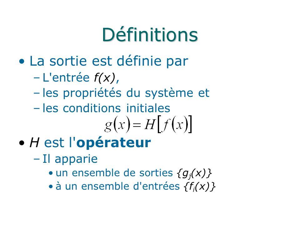 Définitions La sortie est définie par H est l opérateur L entrée f(x),