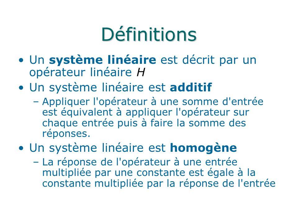 Définitions Un système linéaire est décrit par un opérateur linéaire H