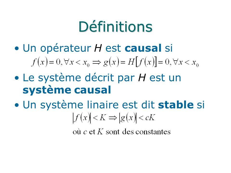 Définitions Un opérateur H est causal si