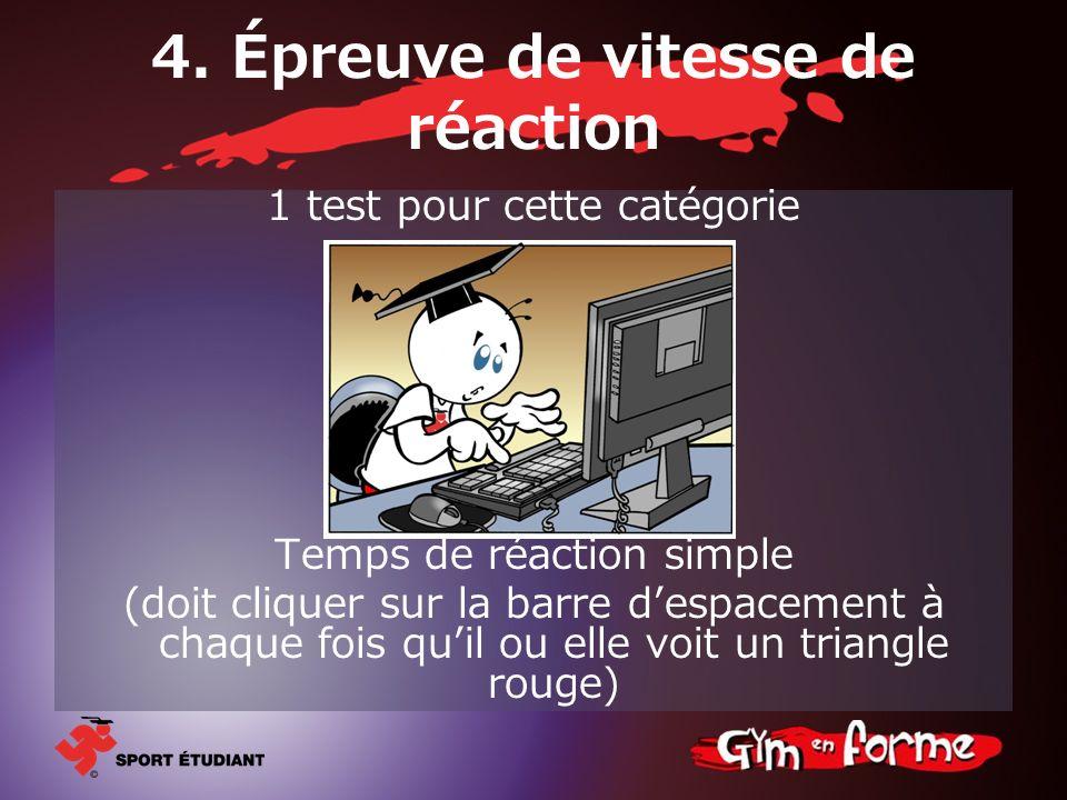 4. Épreuve de vitesse de réaction