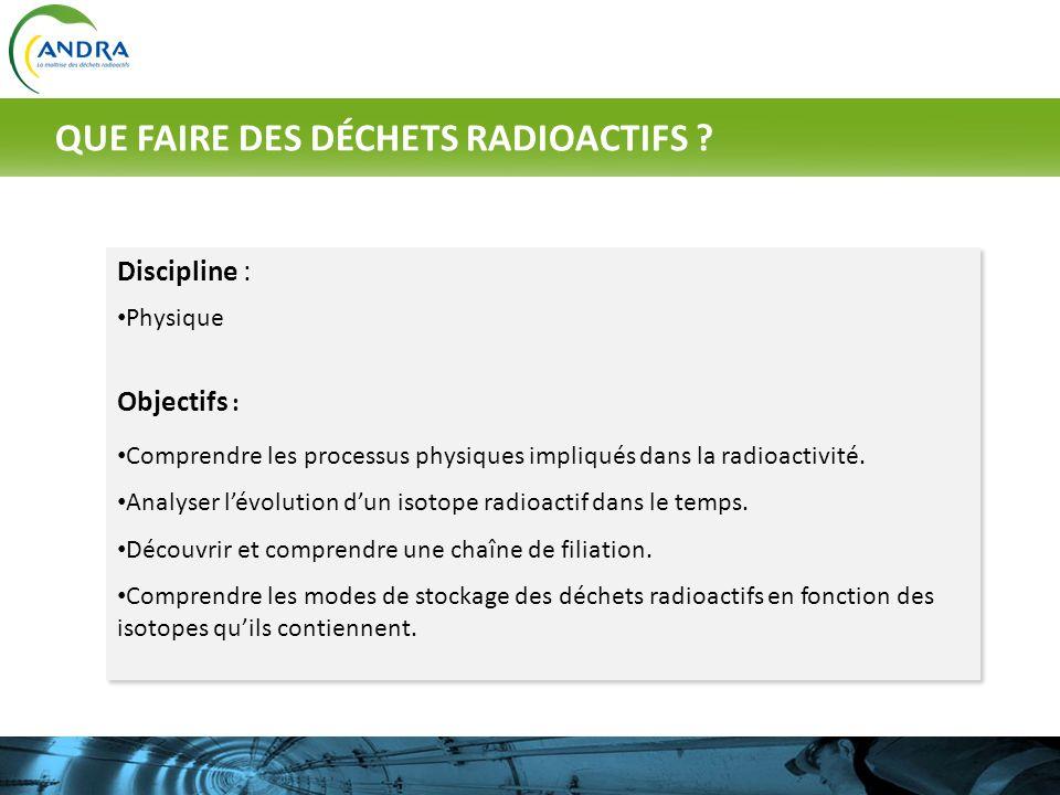 QUE FAIRE DES DÉCHETS RADIOACTIFS
