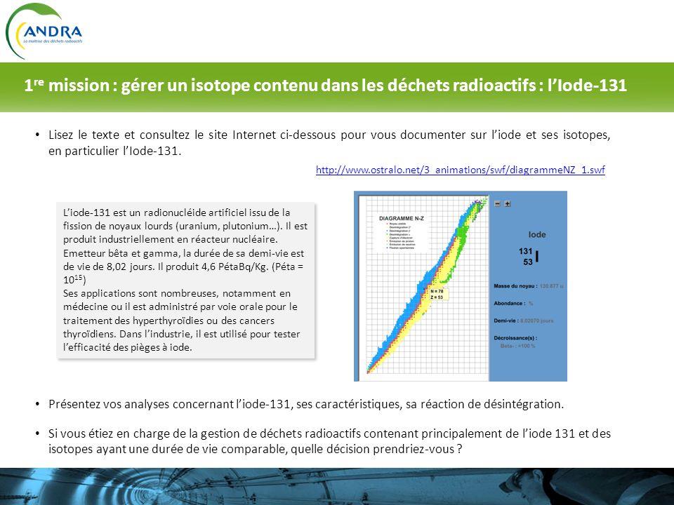 1re mission : gérer un isotope contenu dans les déchets radioactifs : l'Iode-131