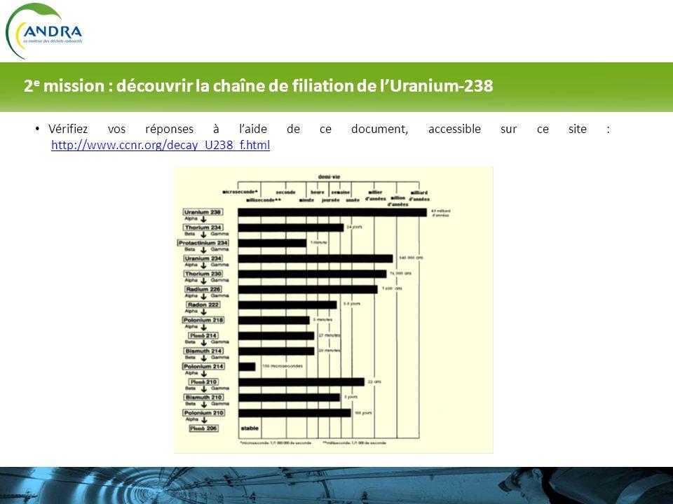 2e mission : découvrir la chaîne de filiation de l'Uranium-238