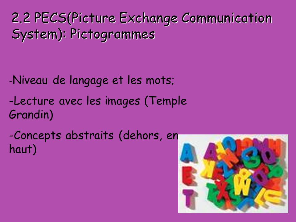 2.2 PECS(Picture Exchange Communication System): Pictogrammes