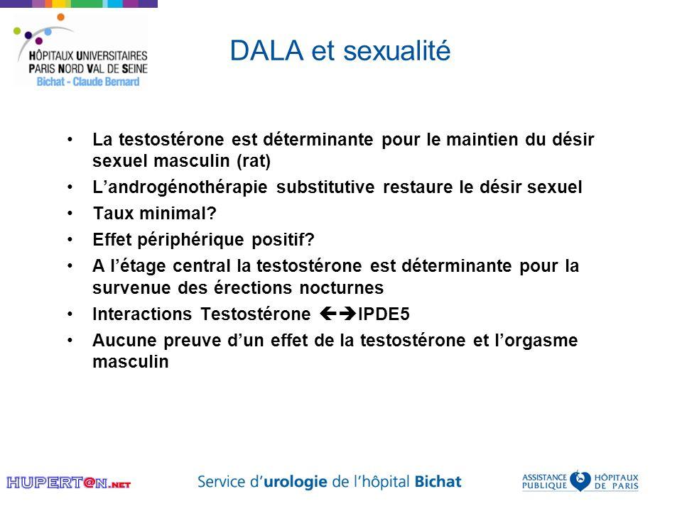 DALA et sexualité La testostérone est déterminante pour le maintien du désir sexuel masculin (rat)