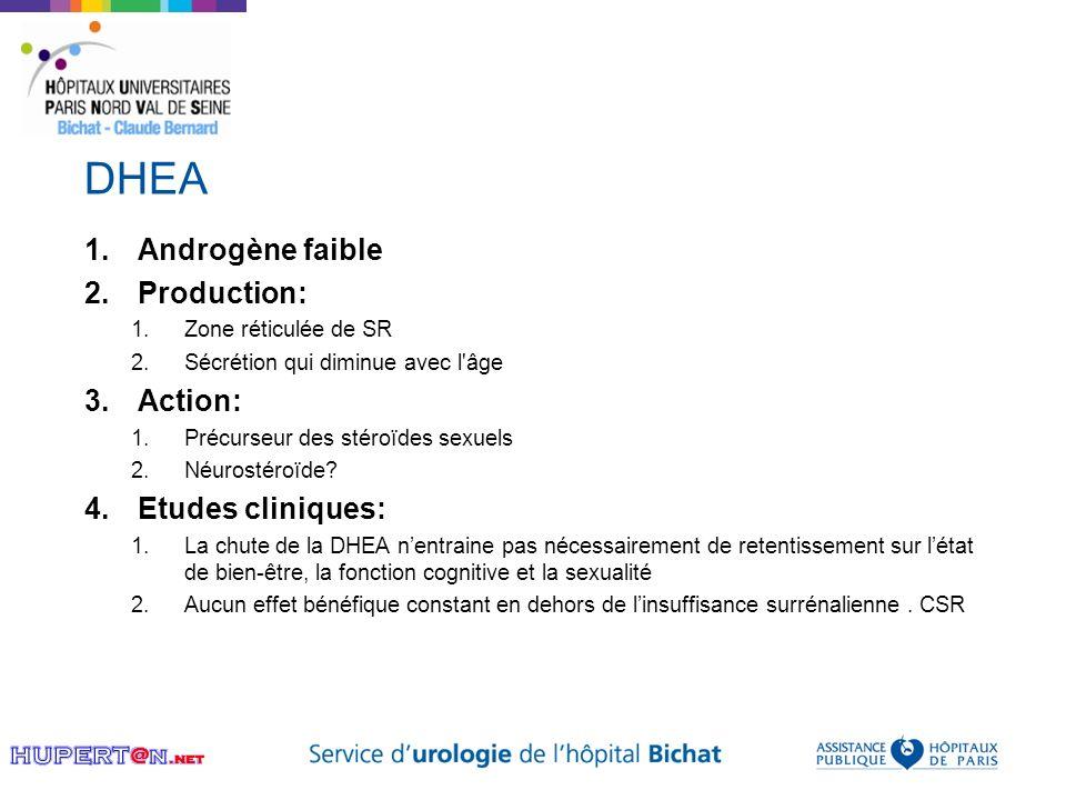 DHEA Androgène faible Production: Action: Etudes cliniques: