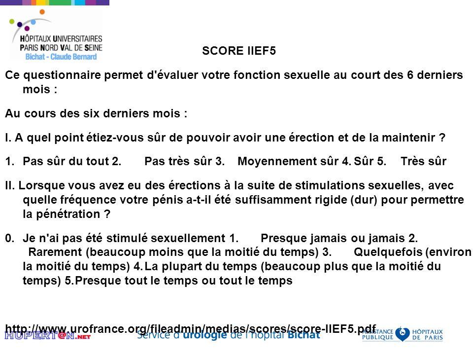 SCORE IIEF5 Ce questionnaire permet d évaluer votre fonction sexuelle au court des 6 derniers mois :