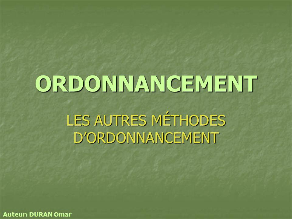 LES AUTRES MÉTHODES D'ORDONNANCEMENT