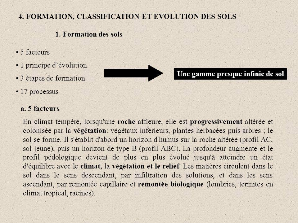 4. FORMATION, CLASSIFICATION ET EVOLUTION DES SOLS
