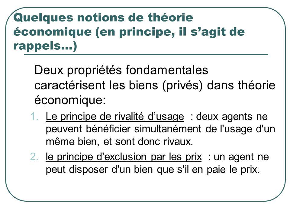 Quelques notions de théorie économique (en principe, il s'agit de rappels…)