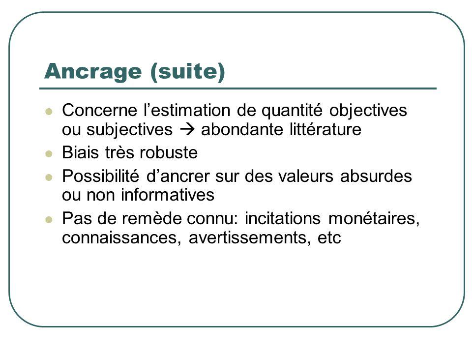 Ancrage (suite) Concerne l'estimation de quantité objectives ou subjectives  abondante littérature.