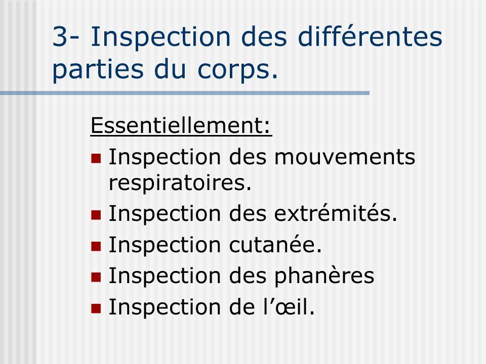 3- Inspection des différentes parties du corps.