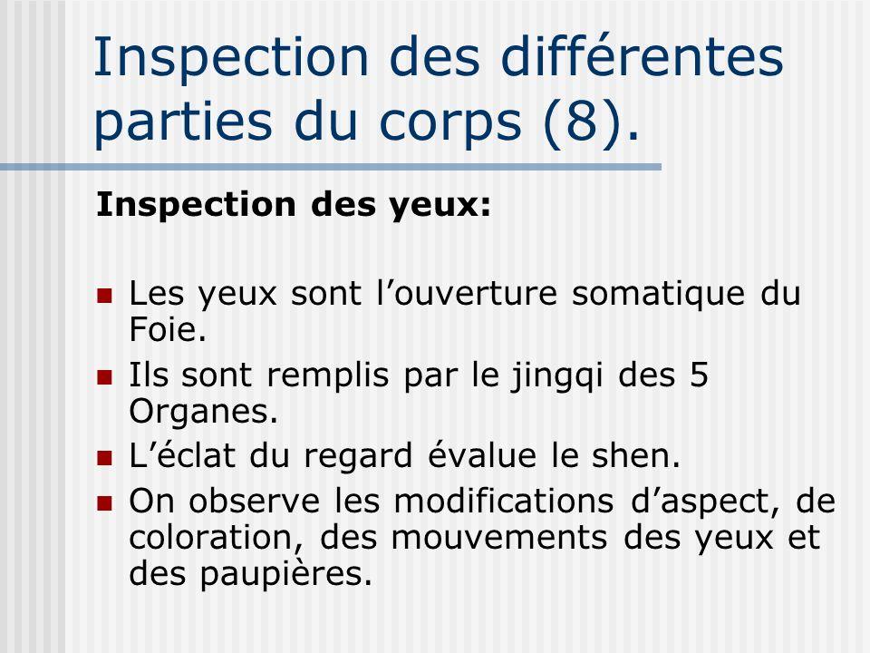 Inspection des différentes parties du corps (8).