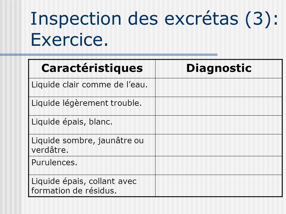 Inspection des excrétas (3): Exercice.