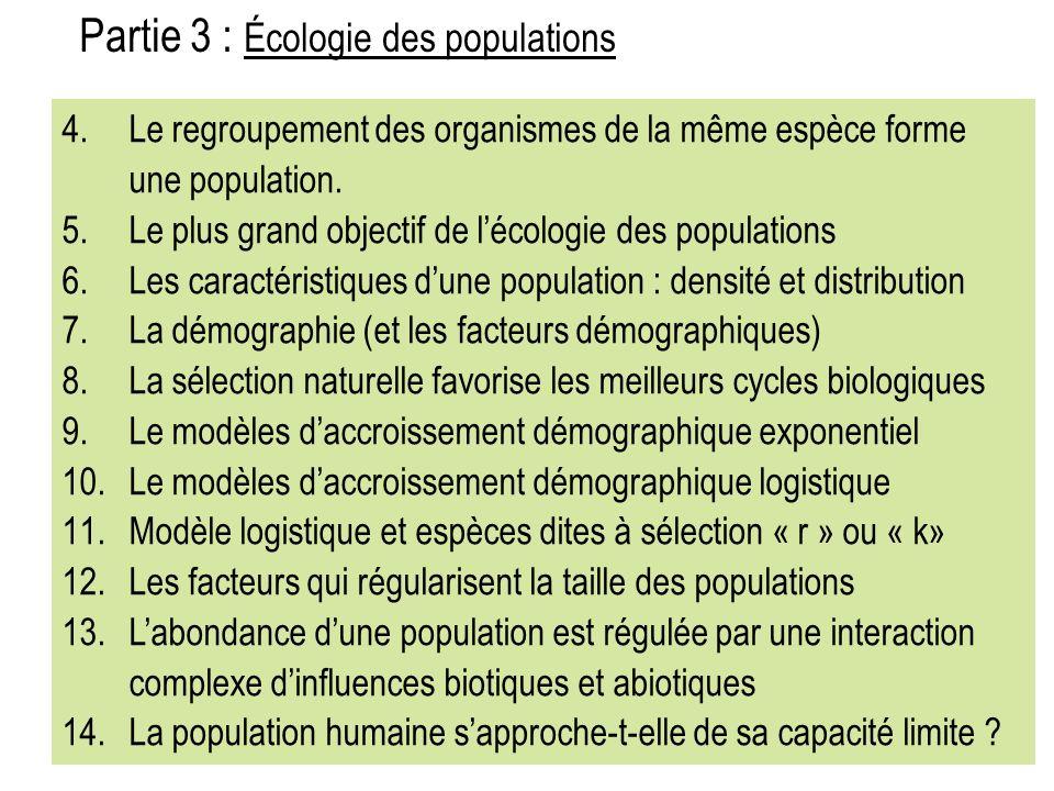 Partie 3 : Écologie des populations