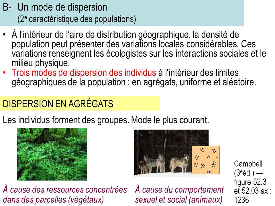 B- Un mode de dispersion (2e caractéristique des populations)