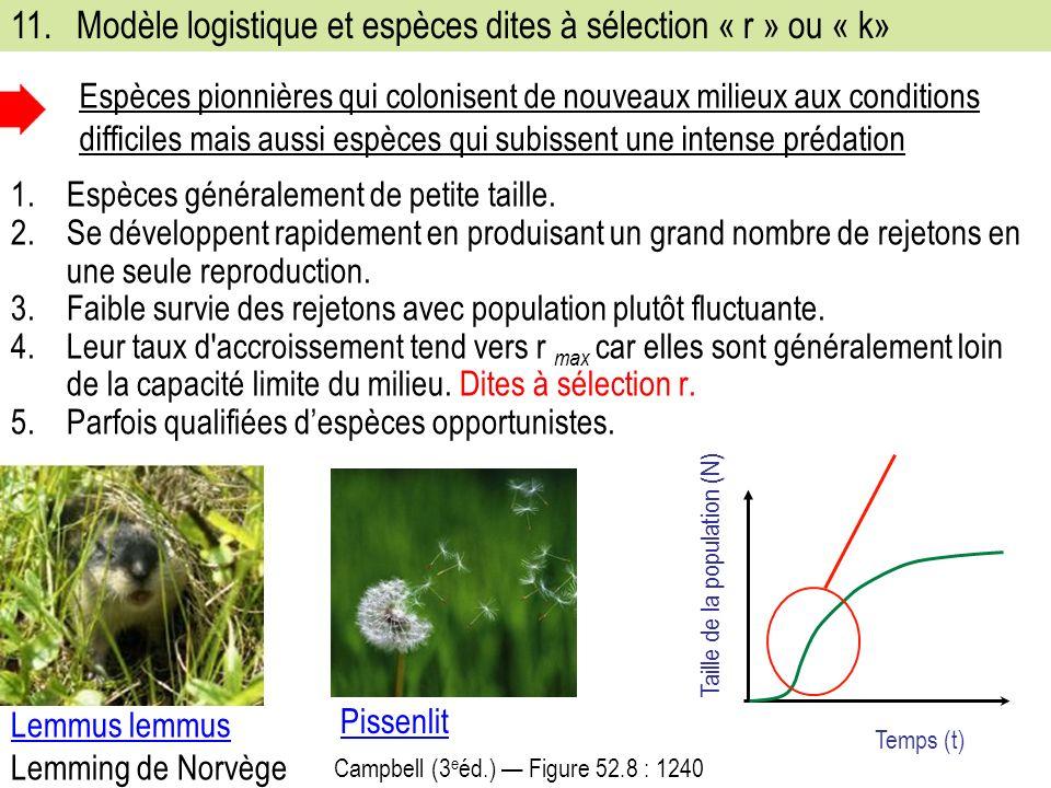 11. Modèle logistique et espèces dites à sélection « r » ou « k»