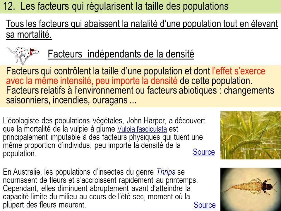 12. Les facteurs qui régularisent la taille des populations